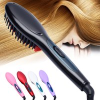 Wholesale Fix Green Hair - Wholesale-2017 New Style Professional Electric Hair Straightener Comb Hair Brush Straightening Irons Hair Brush EU  US  UK AU Plug