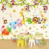 affe kinder dekor groihandel-Günstige Aufkleber [SHIJUEHEZI] Animal Wall Stickers Elefant Giraffe Hippo Monkeys Wand-Dekor für Kinder Zimmer Kindergarten Dekoration