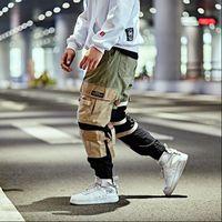 ingrosso pantaloni bagagli harems hip hop-Pantalone cargo hip-hop Streetwear Uomo Pantalone pantalone harem patchwork Pantalone multi tasche Pantalone Tatical casual Swag Ribbon Harajuku 2018