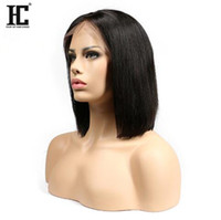 Wholesale indian hair hairstyles - Short Bob Wigs Brazilian Virgin Hair Straight Lace Front Human Hair Wigs For Black Women Swiss Lace Frontal Wig HC Hair
