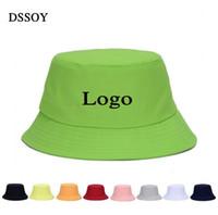 sombrero de cubo liso al por mayor-Sombreros de cubo de algodón lisos para adultos Sombreros de pesca de mujeres para hombre Sombrero de pescador de playa de verano en blanco Bienvenido Logotipo de bordado de impresión a color personalizado
