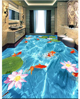 Wholesale fish wall decor bathroom for sale - Group buy Self adhesive D wallpaper customized D floor painting wall paper D lotus lotus nine fish bathroom floor tile wallpaper home decor