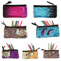 Wholesale stationery office supplies resale online - 16 Colors Mermaid Pencil Bag School Sequin Kids Pencil Supplies Stationery Office Supplies Bags Women Girls Make Up Bags CCA10082
