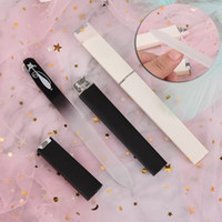 Wholesale crystal nail file cases resale online - 2pcs set Cat Pattern Crystal Glass Nail File With Faux Black White Plated Plastic Hard Case Nail Tools