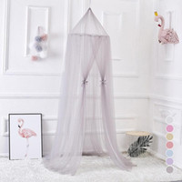 Wholesale princess kids bedding - Nordic Style Kids Decoration Dome Mosquito Net Princess Baby Shed Curtains Round Bed Hanging Canopy Awning Tent Grey S3