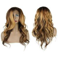 perruques avant de lacets de cheveux mélangés achat en gros de-# 4 / # 27 / # 30 Mix Couleur Lace Front Perruques Cheveux Humains Pour Femmes Longue Ondulée Remy Perruque Cheveux Brésilienne Full Lace Perruques Blanchis Noeuds