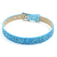 Wholesale Wristband Slide Letter 8mm - 8mm Sequin PU Leather Wristband Bracelet Can Put 8mm Slide Charms Letters Charms on Jewelry Making
