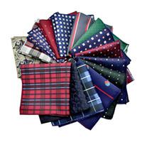 marine taschentücher großhandel-Flower Dots Pattern Taschentuch Herren Business Anzug Polyester Einstecktuch Navy Stripe Red Taschentücher Herren Damen 210054