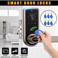 cartão de entrada rfid venda por atacado-2018 Inteligente Digital Keyless Código Eletrônico Door Lock RFID Entrada Segura Handle Inteligente + 6 Etiqueta Do Cartão RFID
