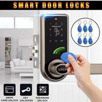 Wholesale rfid codes - 2018 Smart Digital Keyless Electronic Code Door Lock RFID Entry Secure Handle Intelligent + 6 RFID Card Tag