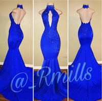 Wholesale Halter Mermaid Prom Dresses - New Arrival 2018 Royal Blue Mermaid Prom Dresses Halter Neck Keyhole Backless Stretchy Long Evening Gowns Celebrity Dress 2K18 Rachael Mills