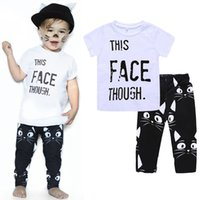 Wholesale kitty shorts - Baby boys Letter print outfits INS children top+Kitty face pants 2pcs set 2018 Summer Cats suits kids Clothing Sets C4031