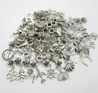 vintage anhänger für schmuck machen großhandel-100 teile / los Silber Überzogene Gemischte Vintage Große Loch Lose Perlen Europäischen Anhänger fit Pandora charms Für Armband Schmuck, der erkenntnisse