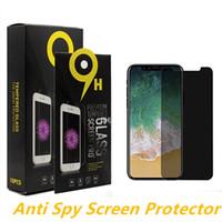 caja de venta al por menor de gafas de pantalla templada al por mayor-Anti-spy Privacy Glass para iPhone XS Max Screen Protector Privacy Tempered Glass para iPhone XS XR 7 8 Protector Film con caja al por menor