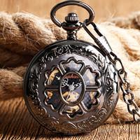 hermosas mujeres reloj al por mayor-Hermosa flor hueco Fob reloj de lujo negro colgante Vintage mecánico relojes de bolsillo para hombres mujeres envío gratis