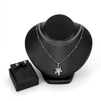 conjuntos de collar de moda para las mujeres al por mayor-iMucci Fashion Silver Color Jewelry Set para Mujeres Accesorios Star Crystal Stud Pendientes Colgante Collar Sets Regalos boda