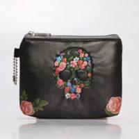 weinlese rosafarbene blumenmünzengeldbeutel großhandel-Laamei Neue Mode Vintage Rose Blumen Schädel Geldbörse Make-Up Tasche Zip Brand Design Handtasche (Größe: 12,5 * 9,5 CM)