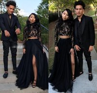 Wholesale Two Train - 2018 Newest Lace Black Two Pieces Prom Dresses High Neck Beaded Tulle Prom Dress Long Sleeve High Split Evening Party Gowns galajurken