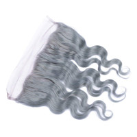 Wholesale synthetic closure online - 13x4 Body Wave Ear to Ear Lace Frontal Grey Color Human Hair Closure with Baby Hair