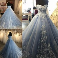 Wholesale sequin beaded satin ball for sale - Elegant Sweetheart Neck Prom Dresses Long Ball Gowns Tulle Appliques Beaded Evening Dresses Formal Long Women Prom Gowns