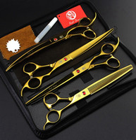 Wholesale cutting pc case for sale – best 5 colros with leather case purple dragon set inch professional hair scissors hair cutting scissors Thinning scissors scissors set