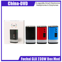 Wholesale button battery box - 100% Original Sigelei Fuchai GLO 230W Mod Powered by Dual 18650 Batteries Ecigarette Box Mod Button LED & Bottom LED Strip