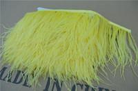 zanaat tüyleri tüyler toptan satış-Ücretsiz kargo 10 yards / lot Parlak sarı 5-6 inç genişlik devekuşu tüyü kırpma için fringe elbise dikiş el sanatları skrit malzemeleri