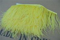 plumas de vestidos amarillos al por mayor-Envío gratis 10 yardas / lot amarillo brillante 5-6 pulgadas de ancho de avestruz borde de plumas pluma para vestido de coser artesanías skrit suministros