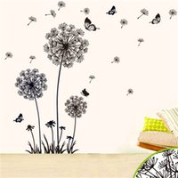 Wholesale wall decor butterfly blue for sale - Oversize Dandelion Butterfly Wall Stickers Living Room Background Wallpaper Morden Home Decor Removable Sticker Hot Sale ht Ww