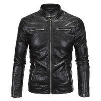 Wholesale brand motorcycle jacket resale online - Autumn Motorcycle Faux Leather Jacket Men Long Sleeve Fashion Black Moto Biker Windbreaker Jacket Brand Veste Size M XL