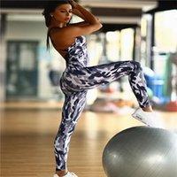 ropa de camuflaje gratis al por mayor-Envío libre al por mayor de una sola pieza Sexy camuflaje impresión Backless Yoga acolchado Jumpsuit Sport Wear Gym Clothes