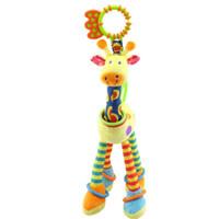 giraffe teether großhandel-Karikaturgiraffenbabyspielzeugkinderweiches Spielzeugbeißring-Geklapperspielzeug