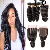 piezas de cierre de la parte media al por mayor-Malaysian Loose Wave 3 piezas de cabello virgen humano con cierre de encaje 4 * 4 8-28 pulgadas Color natural Envío gratis Remy Hair Free Middle 3 Part
