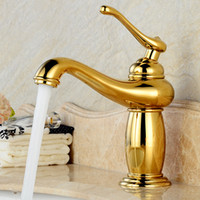 Wholesale finished bathrooms - Basin Faucets Gold-plating Bathroom Sink Taps Single Hole Bathroom Basin Faucet Gold Finish Brass Mixer Tap Torneiras para