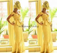 estampas africanas sereia vestidos venda por atacado-Moda Ankara kitenge Africano mulheres vestidos de Baile Sereia impressões africanas Tranças Nigerianos Vestidos de Noite ganso peplum rendas Prom Vestido