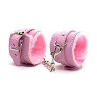 Wholesale Female Handcuffs Wrist Restraints Hand Cuffs for BDDM Bondage Erotic Sex Toys for Mature Women pink red black faux leather