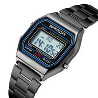 relógio digital a prova d'água digital a prova de inox venda por atacado-Moda Relógio Eletrônico Marcas de Luxo LED Digital militar Esporte Relógio De Pulso Dos Homens de Aço Inoxidável Completa relógios à prova d 'água Relog
