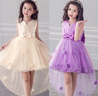 Wholesale robes for wedding online - High Low Satin Flower Girl Dresses Applique Communion Dresses For Girl Kids Prom Dresses robe enfant fille mariage