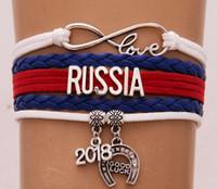 nakliye bayrakları dünya toptan satış-Drop Shipping Infinity Aşk Rusya Fransa Rusya 2018 dünya kupası Bilezik Bilezik Deri Kadınlar Erkekler Için Ulusal Bayrağı Bilezik Takı Hediye