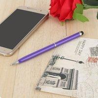 tükenmez kalem dokunmatik kalem toptan satış-0.7 MM Dolum 2 in 1 Kapasitif Dokunmatik Ekran için evrensel Stylus Tükenmez Kalem Dokunmatik Ekran
