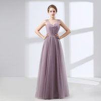 Wholesale long thin prom dresses - Light Purple Bridesmaid Dress A Line Wide Shoulder Strap Thin Mesh Zipper And Prom Dress Adult Gown Graduation Gown
