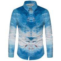 облачная живопись оптовых-Cloudstyle голубое небо белое облако краска рубашка мужская новый дизайн с длинным рукавом тонкий Гавайский рубашка 3D печатных океан Camisa 5XL топы
