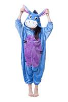 çocuklar kigurumi toptan satış-Çocuklar için Onesie Eşek Onesies Pijama Kigurumi Tulum Hoodies Pijama Çocuklar Için (hiçbir pençe) Karşılama Toptan Sipariş