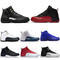 Wholesale wrestling shoes mens size 13 - 2018 New Mens 12 12s basketball shoes Taxi white Black Flu Game The Master Gym red gamma french blue Sports sneakers size 8-13