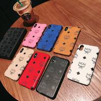 iphone 6 case оптовых-Мода мобильный телефон Case Back Cases для IPhone X 8 7 6 S плюс мода Pattern люксовый бренд кожи Shell обложка