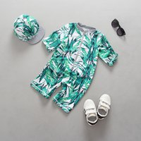 Wholesale sun protective hats for sale - Group buy Top quality Green leaf full print boys Sunscreen swimsuit kids fashion beach wear with hat cap children boy girl sun protective clothing