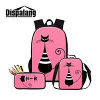 Wholesale cool men shoulder backpacks resale online - Dispalang Large Capacity inch Backpack Set Abstract cat Print Women Men Shoulder Cooler Bags Travel Backpacks Kids Schoolbag