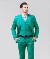 ingrosso cravatta di nozze turchese-Sunshine Energetic Turquoise Smoking dello sposo Notch Lapel Center Vent Vestito da sposa da uomo Holiday Prom Blazer (Giacca + pantaloni + cravatta + gilet) NO: 06
