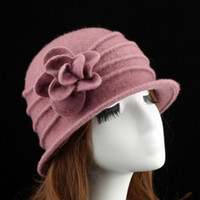 Wholesale red hat elegant online - Personality Women Winter Fall Elegant Formal Hat Luxury Designer Brand Flower Pattern Pure Wool Warm Casual Top Quality Cap wd ff