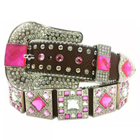 ingrosso cinture rosa calde per le donne-Hot Pink Western Cowgirl Strass Bling Cinturini Cinturino Donna Colorato Borchiato Cintura moda Cinto De Strass ceinture femme